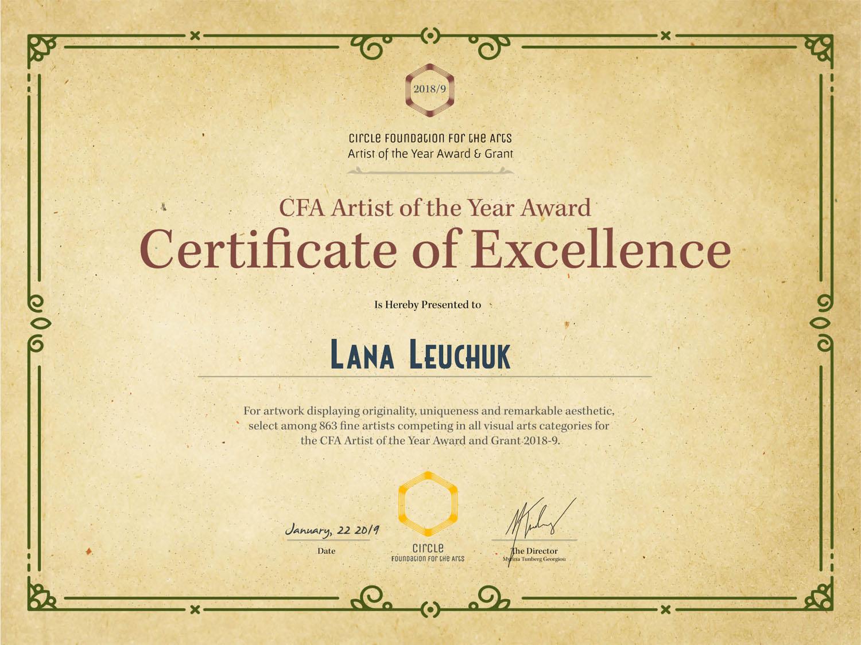 Artist-Of-The-Year-Certificate-Lana Leuchuk